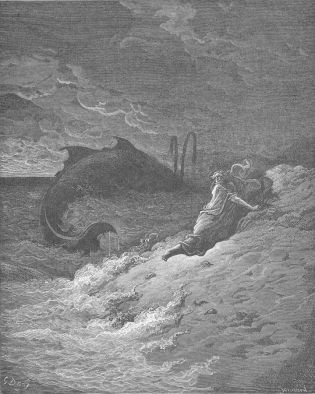 "Gustave Doré, ""Jonah Is Spewed Forth by the Whale."""