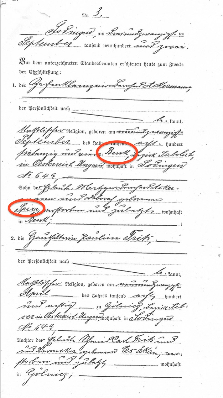 AKERMAN Bernard and Pauline marriage annotated